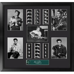 Bring the King of Rock n' Roll into your home with this FilmCells™ Montage presentation. This special edition collectible features five officially licensed images of Elvis, a certificate of authenticity, and six strips of real 35mm film from a performance
