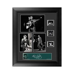 Bring the King of Rock n' Roll into your home with this FilmCells™ presentation. This special edition collectible features three officially licensed images of Elvis, a certificate of authenticity, and three clips of real 35mm film from his performances.