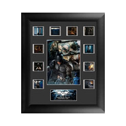 Relive the storm set upon Gotham in The Dark Knight Rises, the final chapter of Christopher Nolan's Dark Knight trilogy. This collectible features a collage of the film's major characters, a certificate of authenticity, and 10 clips of real 35mm film.
