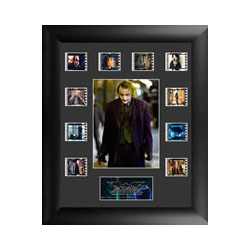 Relive the epic middle entry of Christopher Nolan's Batman Trilogy, The Dark Knight, with this limited edition of 2500 framed FilmCells™ presentation featuring an image of the Joker, a certificate of authenticity, and ten different cells of real 35mm film