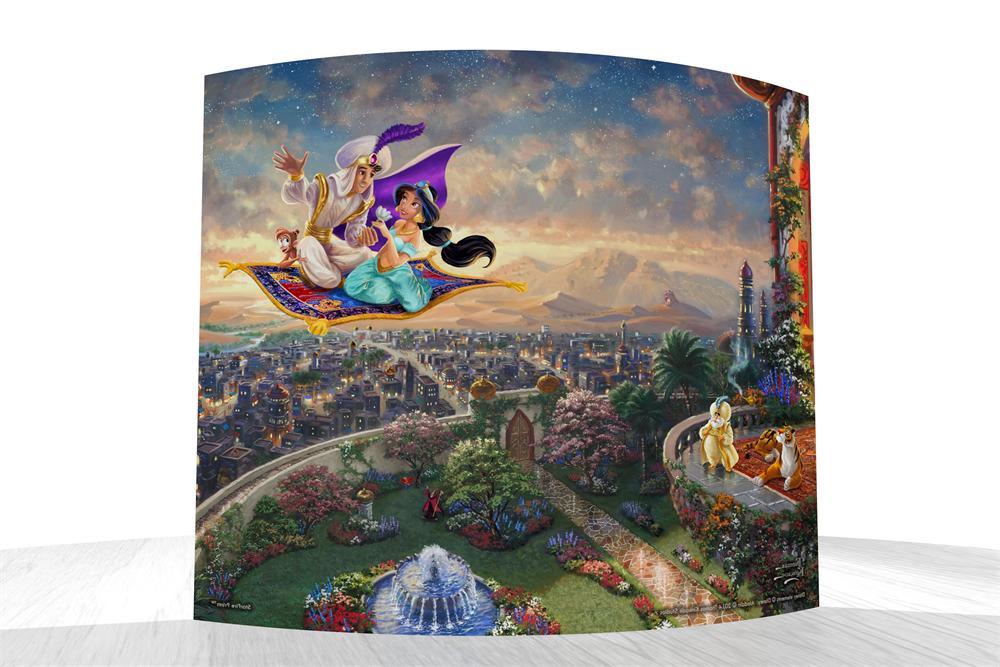 Thomas Kinkade Aladdin Starfire Prints Curved Glass 12x10