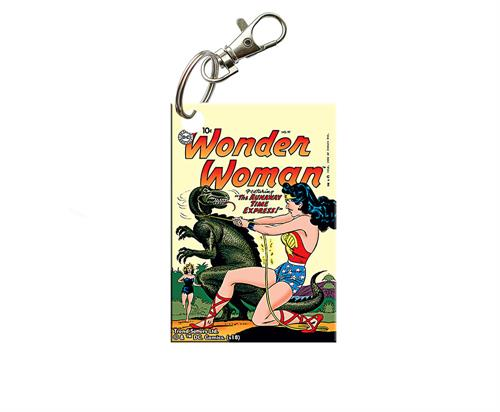 Show off your love of Wonder Woman with this acrylic keychain! This unique piece lets you carry Issue No. 97 wherever you go, complete with Wonder Woman trying to tame a runaway dinosaur on the cover. Perfect for the comic collector in your life.