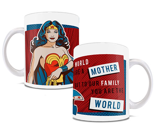 "wonder woman on a red white and blue mug with the phrase ""To the world you are a mother but to our family you are the world"""