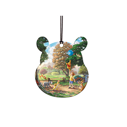 Disney's Winnie the Pooh, Christopher Robin, Eeyore, Piglet, Roo, Rabbit, and friends have an adventure on this officially licensed pooh-shaped hanging acrylic.