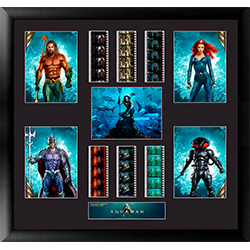 This officially licensed, numbered and limited-edition work of art features the rulers of Atlantis (Aquaman, Mera, Black Manta and Ocean Master) and 6 strips of authentic 35mm film clips from the movie!