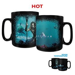Aquaman rules the sea and this Clue Morphing Mug. Jason Momoa sits ready with his trident on the sea floor with the movie title on the opposite side. Add your favorite hot liquid to see the full image appear, showing the ocean and creatures of the deep.