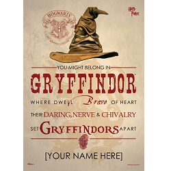 Harry Potter (Sorting Hat Gryffindor Personalized) MightyPrint Wall Art