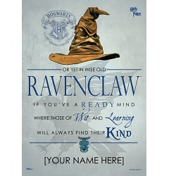 Harry Potter (Sorting Hat Ravenclaw Personalized) MightyPrint Wall Art
