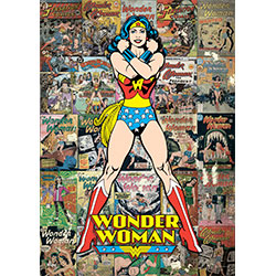 Wonder Woman is ready to fight for justice on this MightyPrint™ Wall Art. Behind the Amazonian warrior is a colorful collage of classic Wonder Woman comic book covers.