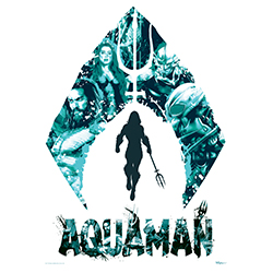 This sleek, cool, aquatic MightyPrint™ Wall Art features the Atlantean symbol and Aquaman's logo. Aquaman himself can be seen in the watery blues along with Mera, Black Manta, and Ocean Master.