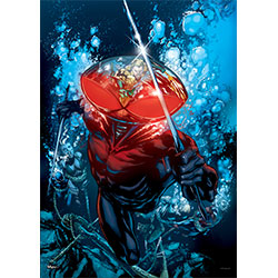 Black Manta cuts through the water ready to attack. Who is his target? Check out the reflection in his helmet.  This MightyPrint™ Wall Art is officially licensed, super vivid and detailed, and resistant to the damage that paper posters suffer so easily.
