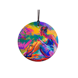 Blend Cota has masterfully painted a ballerina at rest in this hanging glass collectible. The vibrant colors help the print stand out no matter where you place it in a room. Perfect for the art collector in your life!
