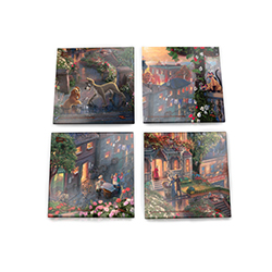 Bring the magic of Lady and the Tramp into your home with this StarFire Prints glass coaster set featuring images from Thomas Kinkade Studios' panoramic painting, Lady and the Tramp, done in the artist's instantly recognizable, luminous style.