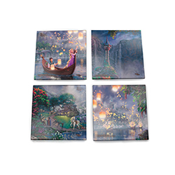 Flynn and Rapunzel light floating lanterns in dreamlike scenes from Disney's film, Tangled.  Featuring Thomas Kinkade Studios' panoramic painting of the film and faithfully rendered in the artist's instantly recognizable style. Contains 4 coasters.