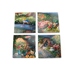 Bring the magic of Disney's Alice in Wonderland into your home with this StarFire Prints glass coaster set featuring images from Thomas Kinkade Studios' panoramic painting, of the film, done in the artist's instantly recognizable, luminous style.