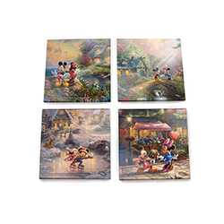 Thomas Kinkade Studios brings the magic of Disney, and the sweet romance of Mickey and Minnie to this set of 4 glass coasters.