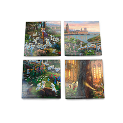 Protect your surfaces with the magic of Disney and the colors of Thomas Kinkade Studios™. Each of these four glass coasters features a different charming scene.