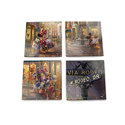 Thomas Kinkade Studios brings Disney's most loveable duos to California for some Beverly Hills shopping! Each StarFire Prints™ Glass coaster features a different scene from the painting