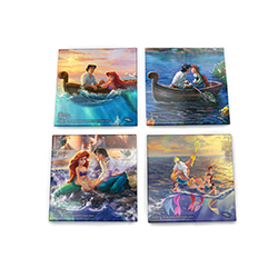 Celebrate the love between Disney's The Little Mermaid's Ariel and Prince Eric with this StarFire Prints™ glass coaster set. Each dazzling coaster features a different scene:
