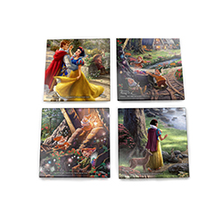 Each of these dazzling, durable StarFire Prints™ Glass Coasters features a vivid scene of Disney's Snow White, as imagined by Thomas Kinkade Studios.