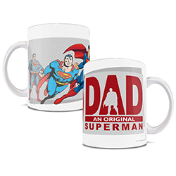 Superman takes off into flight on one side of mug and