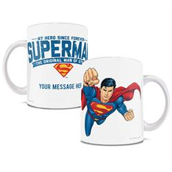 On one side Superman takes off. On the other the mug reads