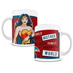 wonder woman on a red white and blue mug with the phrase