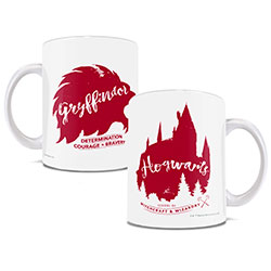 Harry Potter Ceremic Mug featuring Gryffindor in minimalist, water-color style giving an almost nostalgic, vintage look to these ceramic Hogwarts House mugs.