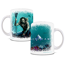 This officially licensed DC Comics mug features Jason Momoa as Aquaman posing under the sea with some of his toothiest friends.