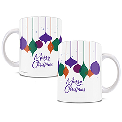 "Pretty jewel-toned ornaments hang above a festive greeting of ""Merry Christmas on this 11 oz ceramic mug."