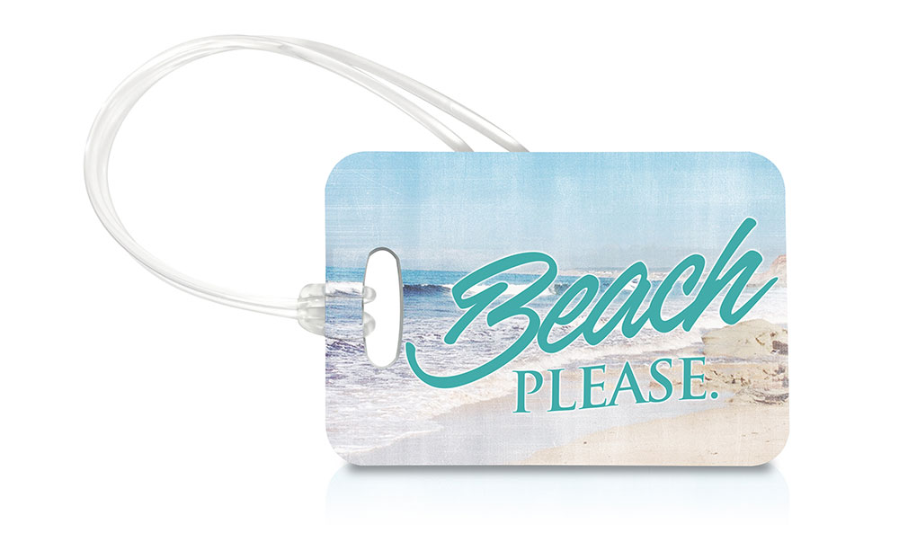LTREC036 Trend Setters (Beach Please) Luggage Tag - blue and white beach wedding