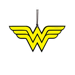 Wonder Woman's yellow W logo as a hanging acrylic ornament