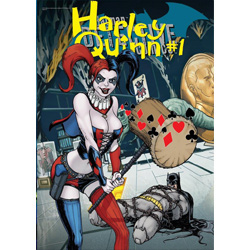 Harley Quinn™ brings her own brand of insanity to this MightyPrint Wall Art. This state of the art, light-diffusing print features an officially licensed DC Comics Justice League rendition of Harley Quinn and a captive Batman™.
