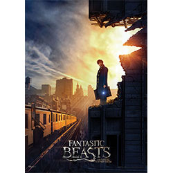 Fantastic Beasts are on the loose in New York City! It's 1926 New York and Newt Scamander, wanded and pensive, surveys a transit line from a damaged building.  Thanks to our MightyPrint™ light-diffusing, tear, and fade-resistant technology