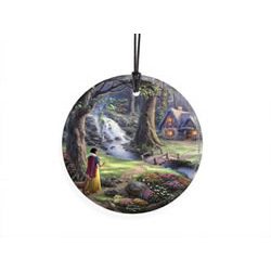 Bring the magic of Disney's Snow White and the Seven Dwarfs to your window or festive wall with this StarFire Prints hanging glass. This collectible features Thomas Kinkade's panoramic painting, Snow White Discovers the Cottage