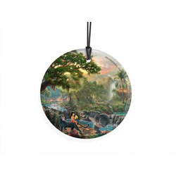 Bring the magic of Disney's The Jungle Book to your window or festive wall with this StarFire Prints hanging glass. This collectible features Thomas Kinkade Studios' panoramic painting, The Jungle Book, done in Kinkade's instantly recognizable style