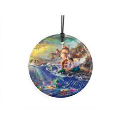 Bring the magic of Disney's The Little Mermaid to your window or festive wall with this StarFire Prints hanging glass. This collectible features Thomas Kinkade's panoramic painting, The Little Mermaid, done in Kinkade's instantly recognizable style