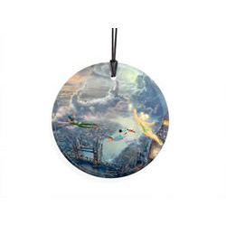 Bring the magic of Disney's Peter Pan to your window or festive wall with this StarFire Prints hanging glass. This collectible features Thomas Kinkade's panoramic painting, Tinker Bell and Peter Pan Fly to Neverland, done in Kinkade's style.