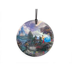 Bring the magic of Disney's Cinderella to your window or festive wall with this StarFire Prints hanging glass. This collectible features Thomas Kinkade's panoramic painting, Cinderella Wishes Upon A Dream, done in Kinkade's instantly recognizable