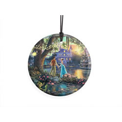 Bring the magic of Disney's The Princess and the Frog to your window or festive wall with this StarFire Prints hanging glass. This collectible features Thomas Kinkade's panoramic painting, The Princess and the Frog, done in Kinkade's style