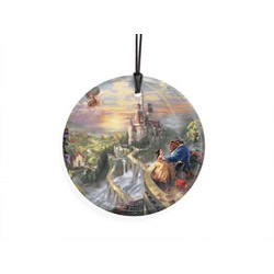 Bring the magic of Disney's Beauty and the Beast to your window or festive wall with this StarFire Prints hanging glass. This collectible features Thomas Kinkade's panoramic painting, Beauty and the Beast Falling in Love
