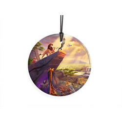 Bring the magic of Disney's The Lion King to your window or festive wall with this StarFire Prints hanging glass. This collectible features Thomas Kinkade's panoramic painting, The Lion King, done in Kinkade's instantly recognizable, luminous style.
