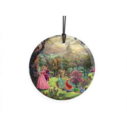 Bring the magic of Disney's Sleeping Beauty to your window or festive wall display with this StarFire Prints hanging glass. It features an image from Thomas Kinkade's panoramic painting, Sleeping Beauty, done in Kinkade's instantly recognizable