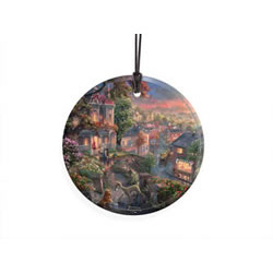 Bring the magic of Disney's Lady and the Tramp to your window or festive wall display with this StarFire Prints hanging glass. It features an image from Thomas Kinkade Studios' panoramic painting, Lady and the Tramp