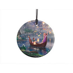 Bring the magic of Disney's Tangled to your window or festive wall display with this StarFire Prints hanging glass. It features an image from Thomas Kinkade Studios' panoramic painting, Tangled, done in Kinkade's instantly recognizable, luminous style.