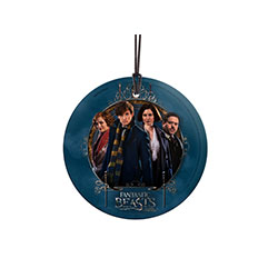 It's Newt Scamander and his friends from the movie Fantastic Beasts and Where to Find Them. This hanging glass print features an image of (left to right), Queenie, Newt, Tina, and Jacob. Display your love of the wizarding world with this striking artwork