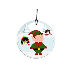 Elfy is ready for Christmas, are you? Add some elf magic to your tree with Elfy and his penguin friends on this hanging glass decoration. Comes with hanging string for easy display.