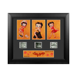 Bring the classic Betty Boop to your collection with this framed FilmCells™ presentation. This collectible features three classic images of the cartoon icon, a certificate of authenticity, and three clips of real 35mm film from her movies.