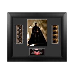 Celebrate the beginnings of Batman™ with this limited edition framed FilmCells™ presentation from Christopher Nolan's Batman Begins. This collectible features an image of Batman, a certificate of authenticity, and two strips of real 35mm film.