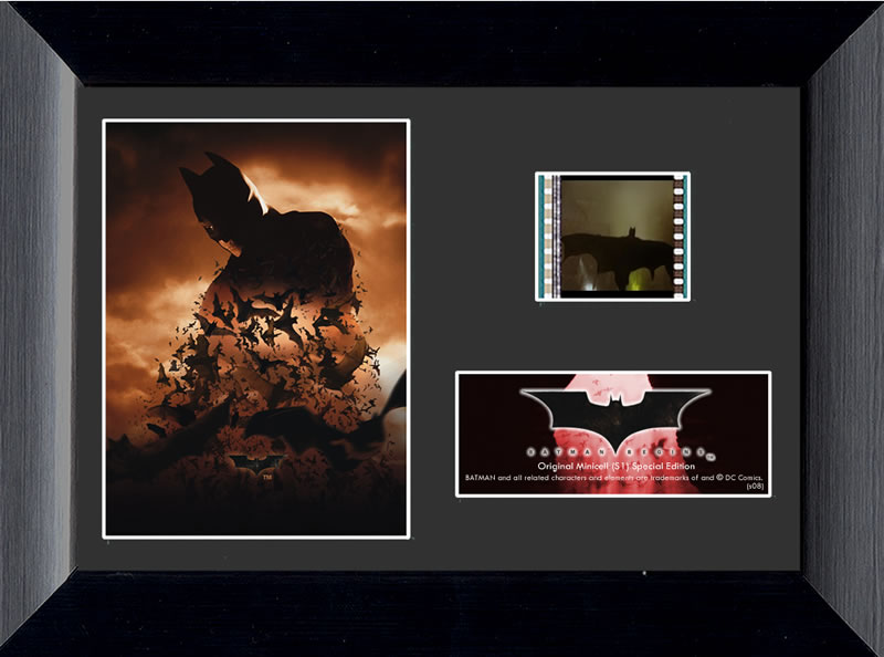 """It's not who I am underneath, but what I do that defines me."" Celebrate the beginnings of a legend with this framed FilmCells™ MiniCell presentation. This collectible features an image of Batman from Christopher Nolan's Batman Begins."